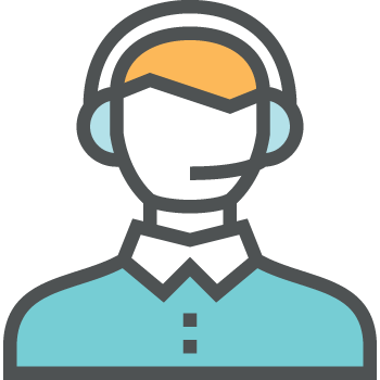 Image of person on headset
